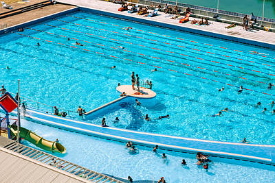 Royalty-Free and Rights-Managed Images - People enjoying public swimming pool by Julien