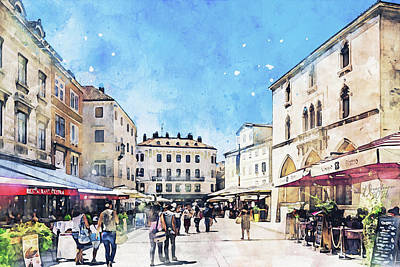 Painting - People's Square in Split by Dreamframer Art
