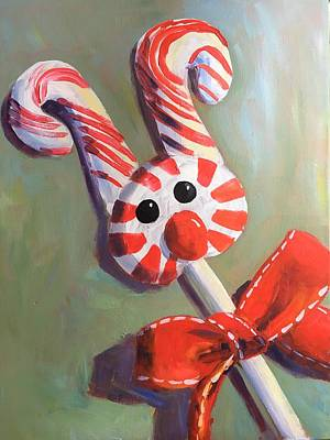 Susan Elizabeth Jones Royalty-Free and Rights-Managed Images - Peppermint Reindeer by Susan Elizabeth Jones