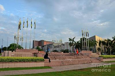 Classical Masterpiece Still Life Paintings - Perak state flags and people at Dataran Ipoh garden square Ipoh Malaysia by Imran Ahmed