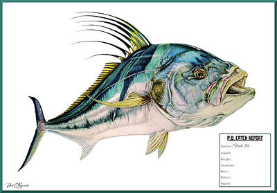 Personalized Name License Plates - Personal Best Catch Report Rooster Fish by Paul Kyriakides