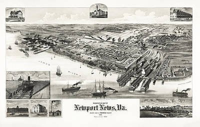 Recently Sold - Animals Drawings - Perspective Map Of Newport News Virginia - Circa 1892 by War Is Hell Store