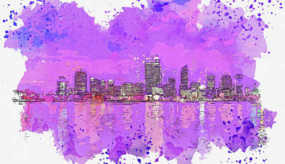 Royalty-Free and Rights-Managed Images - Perth Skyline, watercolor travel poster, by Ahmet Asar by Celestial Images