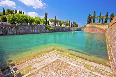 Rolling Stone Magazine Covers - Peschiera del Garda turquoise channel around town walls view, by Brch Photography