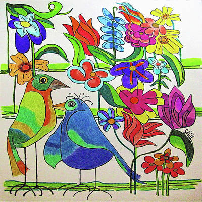 Animals Drawings - Petal Town  by Sharon Hill