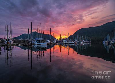 Gold Pattern - Petersburg Alaska Marina Sunset Fire by Mike Reid