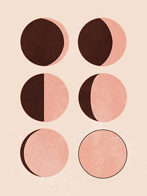 Royalty-Free and Rights-Managed Images - Phases of the moon - Minimal Scandinavian Print by Studio Grafiikka