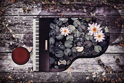 Surrealism Digital Art - Piano with water lilies by Mihaela Pater