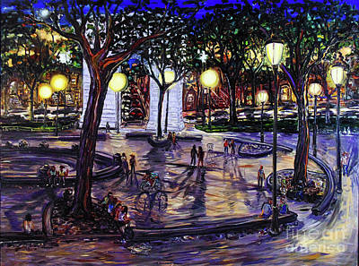 Painting - Pick Up In Washington Square Park by Arthur Robins