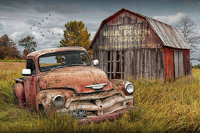 Randall Nyhof Royalty Free Images - Pickup Truck and Mail Pouch Tobacco Barn Royalty-Free Image by Randall Nyhof