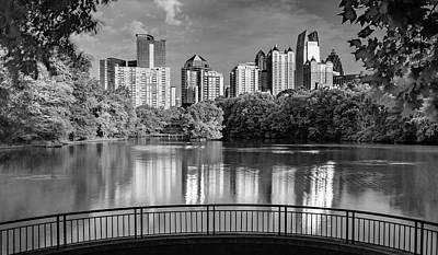 Whimsically Poetic Photographs - Piedmont Park Panorama Skyline of Atlanta Georgia - Black and White by Gregory Ballos