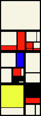 Digital Art - Piet Mondrian Color Combination No 2, Oil Painting by Ahmet Asar, Oil Painting by Ahmet Asar v2 by Celestial Images