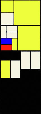 Digital Art - Piet Mondrian Color Combination No 5, Oil Painting by Ahmet Asar, Oil Painting by Ahmet Asar v2 by Celestial Images