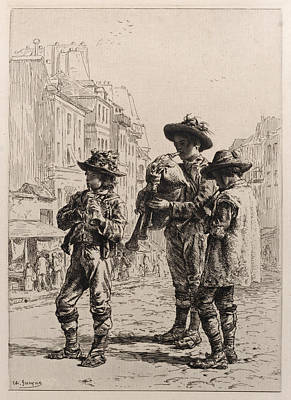 Drawing - Pifferaris by Charles-Emile Jacque