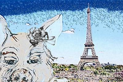 Mixed Media Royalty Free Images - Pig in Paris Royalty-Free Image by Eloise Schneider Mote