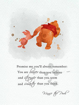 Recently Sold - Animals Digital Art - Piglet and Pooh quote watercolor 2 by Mihaela Pater