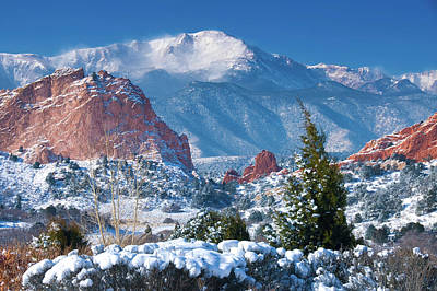 Landscapes Royalty-Free and Rights-Managed Images - Pikes Peak in Winter by John Hoffman