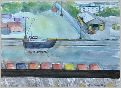 Painting - Pilot Boat In Carribbean Drydock by Lois Bajor