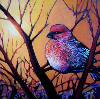 Painting - Pine Grosbeak I by Alison Newth