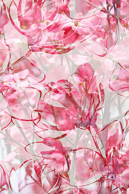 Grimm Fairy Tales - Pink and White Floral Print Vertical by Carol Groenen
