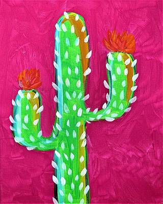Popular Rustic Neutral Tones - Pink Cactus by Crystal White