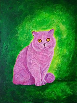 Animals Paintings - Pink cat. by Vladimir Frolov