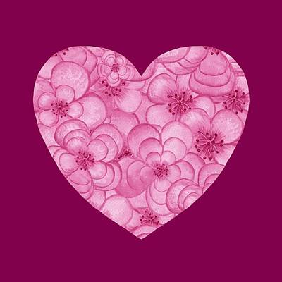 Royalty-Free and Rights-Managed Images - Pink Floral Heart Love And Valentine  by Irina Sztukowski