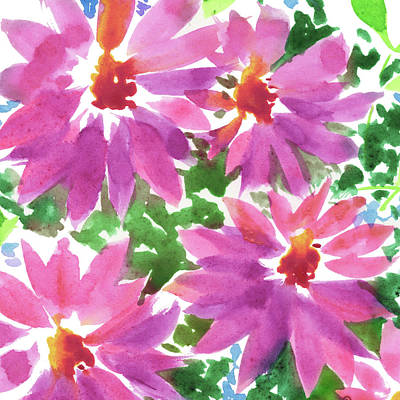 Royalty-Free and Rights-Managed Images - Pink Floral Impressionism In Watercolor  by Irina Sztukowski