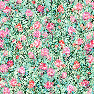 Royalty-Free and Rights-Managed Images - Pink flowers and leaves on sage green background. Watercolor seamless pattern.  by Julien