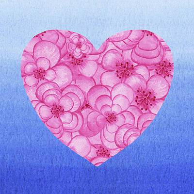 Royalty-Free and Rights-Managed Images - Pink Flowers Heart Blue Sky Watercolor  by Irina Sztukowski