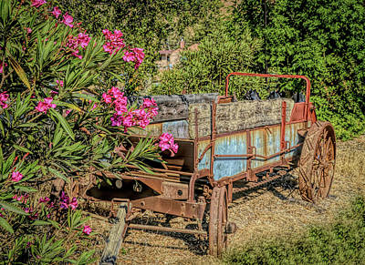 Comedian Drawings - Pink Flowers Rustic Wagon by Floyd Snyder