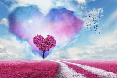 Surrealism Digital Art - Pink heart tree by Mihaela Pater