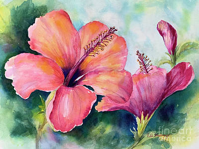 Little Mosters - Pink Hibiscus  by Hilda Vandergriff