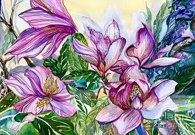 Abstract Oil Paintings Color Pattern And Texture - Pink Magnolias by Mindy Newman