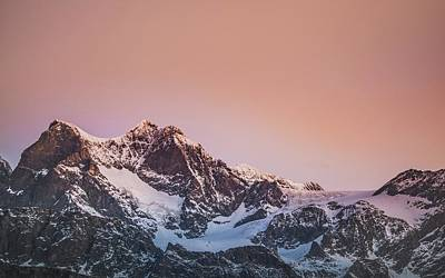 Royalty-Free and Rights-Managed Images - Pink morning in Italian Alps, Lanzada  - snow covered mountain under blue sky during daytime - Lanzada, Prowincja Sondrio, W?ochy by Julien