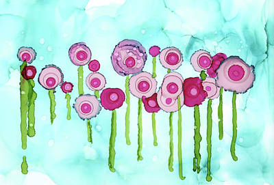 Painting - Pink Rose Drops by Mary Benke