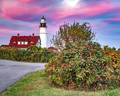 Royalty-Free and Rights-Managed Images - Pink Sunset At Portland Head Light by Gregory Ballos