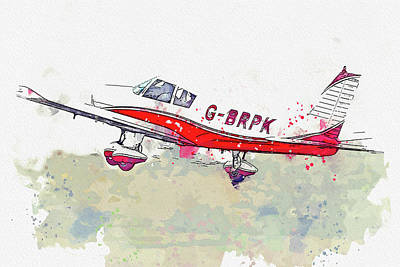 Unicorn Dust Royalty Free Images - Piper PA-Cherokee G-BRPK war planes in watercolor ca by Ahmet Asar  Royalty-Free Image by Celestial Images