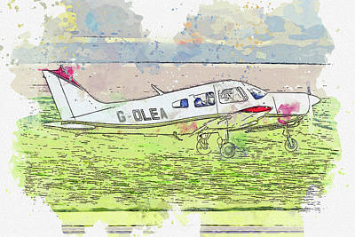 Vintage Movie Stars - Piper PA- Cherokee Warrior G-OLEA war planes in watercolor ca by Ahmet Asar by Celestial Images