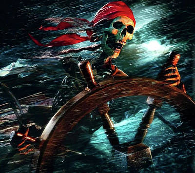 Comic Character Paintings - Pirate In The Storm by Pat Turner