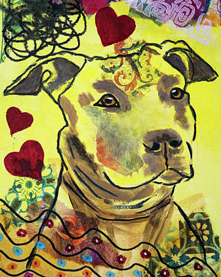 Painting - Pitbull in Love by Kate Benzin