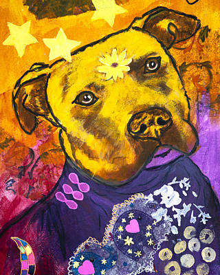 Painting - Pitbull in Orange and Purple by Kate Benzin