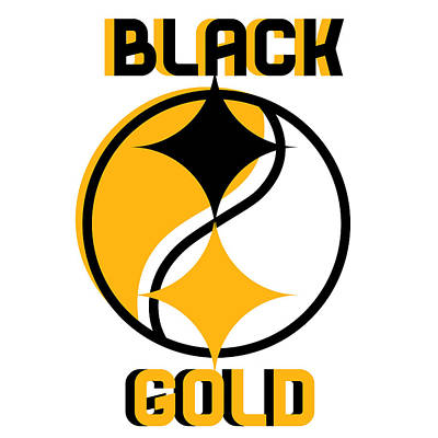 Sports Royalty-Free and Rights-Managed Images - Pittsburgh Black And Gold Yin Yang Design by Aaron Geraud