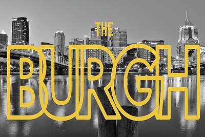Modern Kitchen - Pittsburgh Skyline Text BW by Aaron Geraud