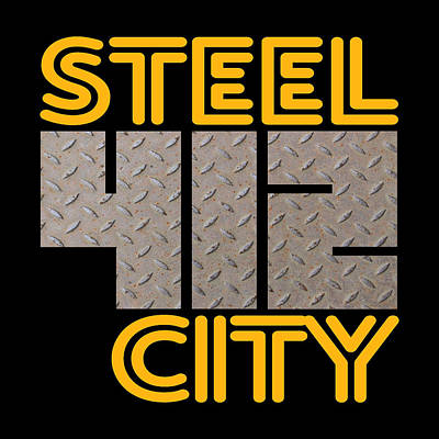Sports Royalty-Free and Rights-Managed Images - Pittsburgh Steel City 412 Pennsylvania Retro Design by Aaron Geraud