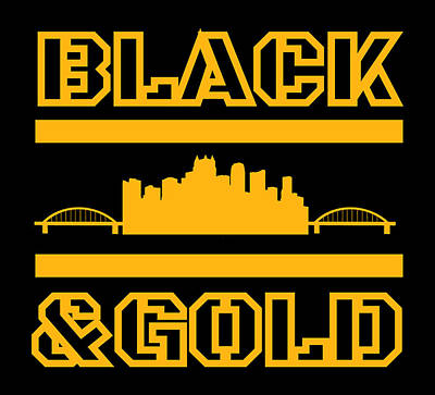 Sports Royalty-Free and Rights-Managed Images - Pittsburgh Steel City Skyline Black And Gold Design by Aaron Geraud