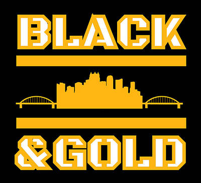 Sports Royalty-Free and Rights-Managed Images - Pittsburgh Steel City Skyline Black And Gold Home Pride by Aaron Geraud