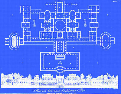 Drawings Royalty Free Images - Plan and Elevation of a Roman Villa i1 Royalty-Free Image by Historic illustrations