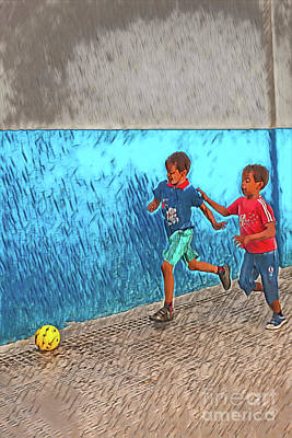 David Bowie Royalty Free Images - Playing soccer on the street Royalty-Free Image by Patricia Hofmeester