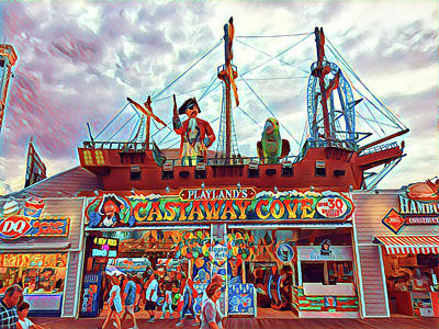 Surrealism Royalty-Free and Rights-Managed Images - Playland Castaway Cove Entrance by Surreal Jersey Shore
